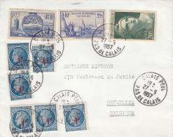 France - Lettre De 1957 - Oblitération Calais Ppal - Expo à New York - Statue De La Liberté - Mariane De Gandon - Lettres & Documents