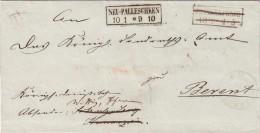 1866 LETTRE RÉUTILISÉE POUR LA RÉPONSE. BERENT(KOSCIERZYNA POLOGNE) - NEU PALLESCHKEN(POLASZKI POLOGNE)/FRANKENFELDE/765 - Prusse