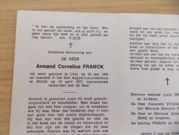 Doodsprentje Armand Cornelius Franck Lillo 23/5/1920 Wilrijk 19/4/1977 - Religione & Esoterismo