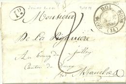 Dol. Cachet à Date Type 11 Double Fleuron.  Marque Postale Pour Ducey.  Lettre.   Ille Et Vilaine. - 1801-1848: Précurseurs XIX