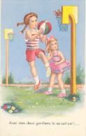 """Carte Postale Dessinée -enfants Jouant Au Basket - Oiseaux """"style Germaine Bouret"""" - Humorous Cards"""