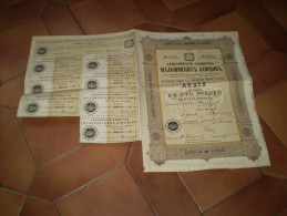 Russie : Emprunt Russe : Société Par Action Des Usines Maltzof . Saint Petersbourg .action De 100 Roubles.1913 - Actions & Titres