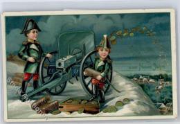 51223339 - Muenzen auf AK Kanone , Neujahr , Kinder in