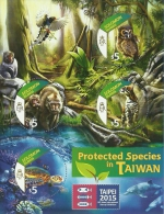 slm151a Solomon Is. 2015 Taipei Exhibition 2 s/s Bird Owl Monkey Cat Turtle Dolphin