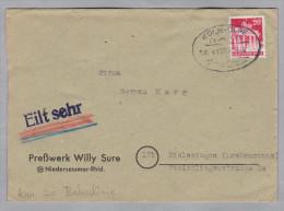 Heimat DE Bahnlinien Köln-Olpe Zug 1182  Vom 1949-10-16 Brief Nach Rielasingen - [7] République Fédérale