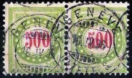 """Porto 1889/93 """"olivgrün/vert-olive"""" Zu 22 D-K Mit O GENÈVE 16.IV.96  (Zu CHF 50.00) - Taxe"""