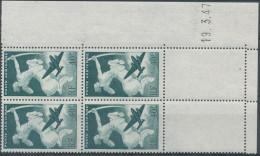 PA16, 40f Vert En Bloc De 4, Coin Daté 1947, Fraîcheur Postale - 1927-1959 Neufs
