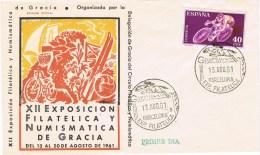 12874. Carta Exposicion GRACIA (Barcelona) 1961, Deporte Hipica, Ciclismo - 1931-Today: 2nd Rep - ... Juan Carlos I