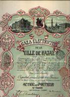 « Gaz & électricité De La Ville De KAZAN Sa » - Action Au Porteur (1909) - Electricité & Gaz
