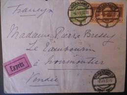 Pologne Lettre De Warszawa 1932 Pour La Vendee Joli Affranchissement Avec Un Bloc De 4 Au Verso - 1919-1939 Republic