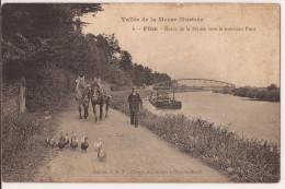 FLIZE CHEVAUX  SUR CHEMIN DE HALAGE TIRANT PÉNICHE Paarden Op Jaagpad Re 663 - Péniches