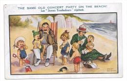 """Couple à La Mer, Cinq Enfants Qui Braillent: """"Les Joyeux Troubadours Répètent"""" . Signé Fred Spurgin - Humour"""