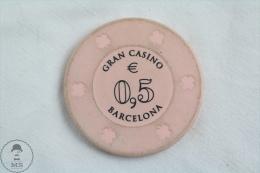 Barcelona Gran Casino Jeton / Chip / Token / Gettone / Fiche - 0.5 € Value - Casino