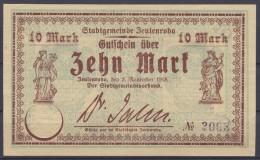Zeulenroda 10 Mark 2. November 1918 Lila 4stellige Kenn Nr.3003, RARE, I-/II+ - 10 Mark