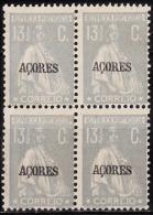 "AÇORES-1918-1921,Tipo «CERES» Selos Cont. C/ Sobr. ""AÇORES"" 13 1/2 C. (QUADRA) P. Pont.  D.12x11 1/2 **MNH Afinsa Nº 174 - Azores"