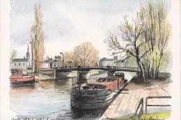 NANTES (44-Loire-Atlantique), Péniches Sous Le Pt St Michel, Aquarelle De Yves-André Abraham, Ed. Artaud - Peintures & Tableaux
