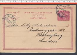 EGYPTE - 1901 -  CARTE ENTIER POSTAL QUATRE MILLIEMES - CORRESPONDANCE DE ALEXANDRIA VERS HELSINGBORG (SUE) - - Egypt