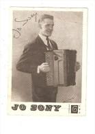 Carte Promotionnelle : JO SONY Accordéoniste : Autographe  Disque DMF - Musique Et Musiciens