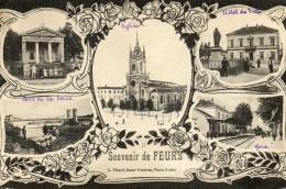 CPA - FEURS (42) - Carte Souvenir Multi-Vues - Gare , Hôtel De Ville, Pont , Etc.. - Feurs
