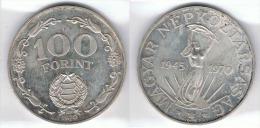 HUNGRIA MAGYAR 100 FLORIN FORINT 1970 PLATA SILVER - Hungría