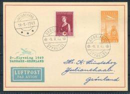 1949 (May 9th) Greenland Denmark Copenhagen Gronlands Styrelse Julianehaab Experimental Second Flight Card - Briefe U. Dokumente