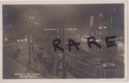 CARTE PHOTO,ALLEMAGNE,DEUTSCHLAND ,BERLIN  EN 1930,BEI NACHT,SPITTELMARKT,rare,t Tamway,train,gare - Unclassified