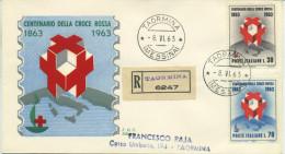 ITALIA - FDC SILIGATO 1963  - CROCE ROSSA - CRI - VIAGGIATA IN RACCOMANDATA DA TAORMINA - 6. 1946-.. Republic