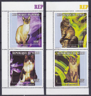 Série De 4 TP Neufs ** N° 870/873(Yvert) Tchad 1997 - Chats - Chad (1960-...)