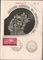 Aurisina (Trieste) 03.12.1961: Annullo Giornata del Francobollo su cartolina del Dopolavoro Ferroviario di Trieste