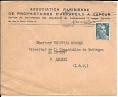 LF113- Lettre à Entête : Association Parisienne De Propriétaires D'Appareils à Vapeur Timbre N°713 - Marcophilie (Lettres)