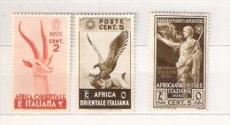 AFRICA ORIENTALE ITALIANA 1938 - Pittorica C.2 E C. 5 + Bimillenario C.5 , Nuovi - Italienisch Ost-Afrika