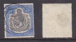 Tanganyika, George V, 1927, 10/= Blue Used BU(KO)BA 27 FE 1929c.d.s. (Telegraph Punch Hole Closed) - Tanganyika (...-1932)