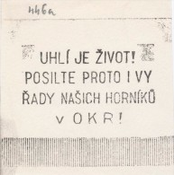 J1412 - Czechoslovakia (1945-79) Control imprint stamp machine (R!): Coal is life! Strengthen ye therefore the range ...