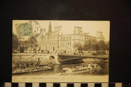 Cp, 75, Paris,  Hotel De Ville Et Le Pont D'Arcole ( Péniches ) - Ponts