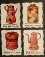 1979 USA American Folk Art - Pennsylvania Toleware Stamps Sc#1775-78 Coffee Pot Tea Sugar Bowl - Drinks
