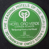 HOTEL MOTEL MOTOR INN PENSION ORO VERDE GUAYAQUIL QUITO ECUADOR AMERICA LUGGAGE LABEL ETIQUETTE AUFKLEBER DECAL STICKER - Hotel Labels