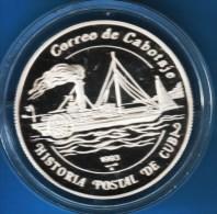 CUBA 5 PESOS 1993 HISTORIA POSTAL DE CUBA BATEAU ALMENDARES ARGENT SILVER - Cuba