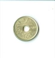 Münzen: Spanien 25 Ptas Olympische Spiele 1992 Barcelona Emblem Rückseite = Diskuswerfer - Olympische Spiele