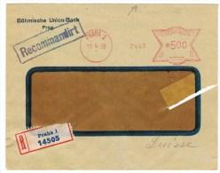 T6. EMA 2447 = Union Bank. Praha/Prague 11.4.28. Verso= Flawil 13.4.28.