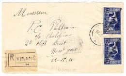 Albanien - 12.10.1925 Tirana R-Brief Nach USA Mit Mi.#119 + 122 - Albanie