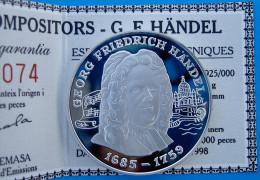 ANDORRA 10 D 1998 ARGENTO PROOF SILVER GEORG FRIEDRICH HANDEL 1685-1759 GRANS COMPOSITORS RARE PESO 31,47g.TITOLO 0,925 - Andorra