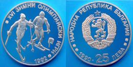 BULGARIA 25 L 1990 ARGENTO PROOF GIOCHI OLIMPICI 1992 SCI FONDO PESO 23,38g TITOLO 0,925 CONSERVAZIONE FONDO SPECCHIO - Bulgaria