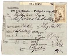 Bosnien U Herzegowina Paketkarte 2.12.1889 KK Militärpost XXV Visegrad Mit Mi#6 Nach Wigstadtl Vitkov Tschechien - Bosnie-Herzegovine
