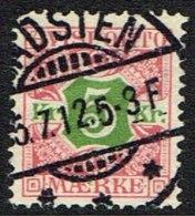 1907. Newspaper Stamps. 5 Kr. Red/green Wmk. Crown. HADSTEN 5. 7. 12. (Michel: V9X) - JF157779 - Denmark