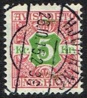 1907. Newspaper Stamps. 5 Kr. Red/green Wmk. Crown. HJØRRING 26. 10. 15 (Michel: V9X) - JF157785 - Danemark