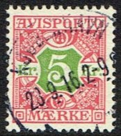 1907. Newspaper Stamps. 5 Kr. Red/green Wmk. Crown. LUX KJØBENHAVN 28. 9. 16 (Michel: V9X) - JF157782 - Danemark