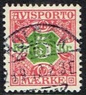 1907. Newspaper Stamps. 5 Kr. Red/green Wmk. Crown. HOLBÆK 23. 9. 12. Very Nice. (Michel: V9X) - JF157776 - Denmark