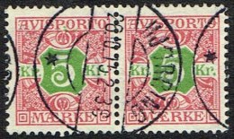 1907. Newspaper Stamps. 5 Kr. Red/green Wmk. Crown. Pair HJØRRING 26. 10. 15. (Michel: V9X) - JF157774 - Non Classés