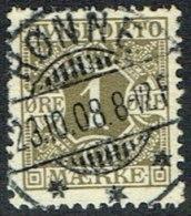 1907. Newspaper Stamps. 1 Øre Olive Wmk. Crown. RØNNE 23.10.08. (Michel: V1X) - JF164751 - Danemark