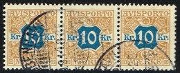 1907. Newspaper Stamps. 10 Kr. Brown/blue Wmk. Crown. 3-stripe KJØBENHAVN 9. 9. 14 (Michel: V10X) - JF157880 - Non Classés